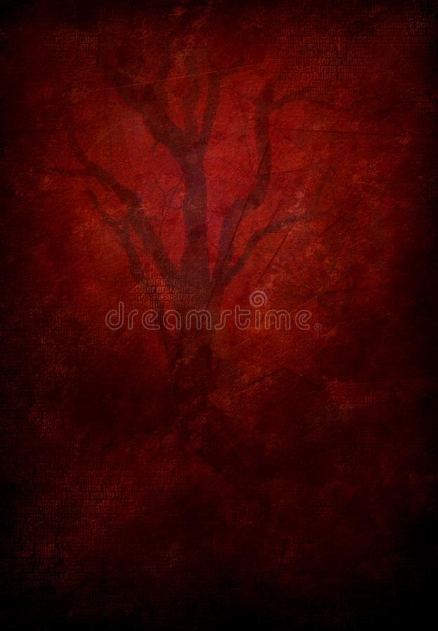 Crimson Tree. Modern abstract art. Tree in red glowing light vector illustration