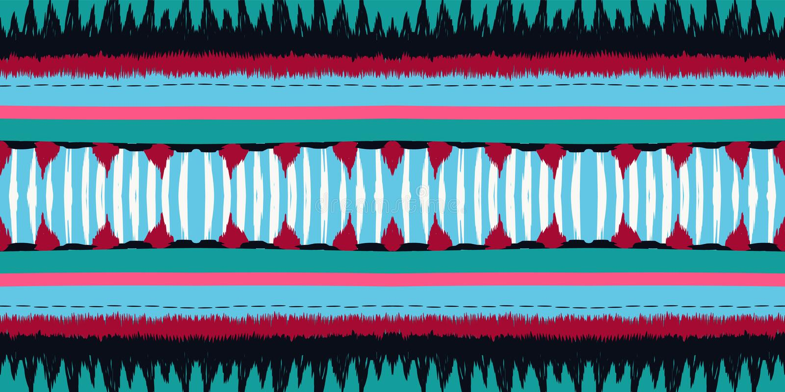 Crimson Tribal Vector Seamless Pattern Scarlet vektor illustrationer