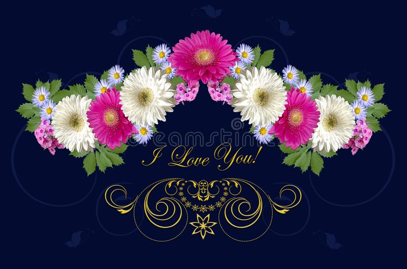 Crimson and white gerberas, purple asters and gold ornament with greeting I Love you on dark blue background royalty free illustration
