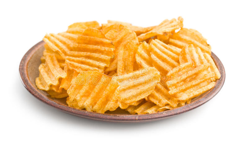Crinkle cut potato chips. royalty free stock images