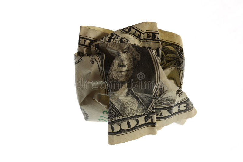 Crinkled Dollar royalty free stock photos