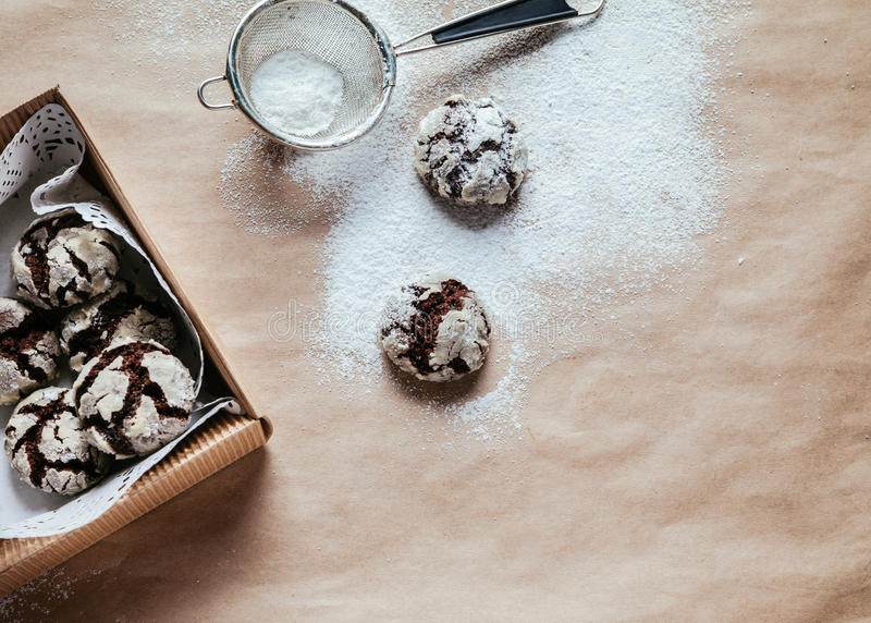 Crinkles. In The Box On The Table With Powder Sugar On Them stock photography