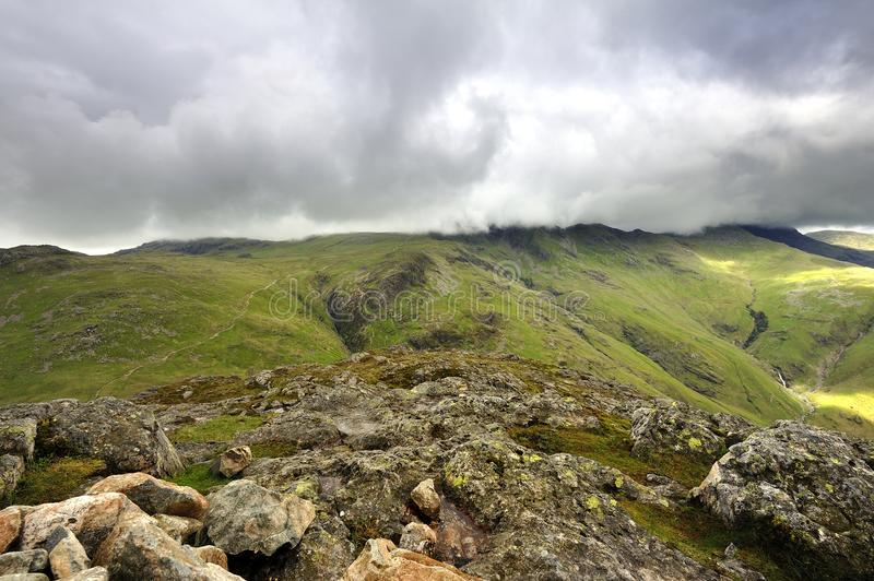 The Crinkles. Low Cloud over the Crinkles stock photography