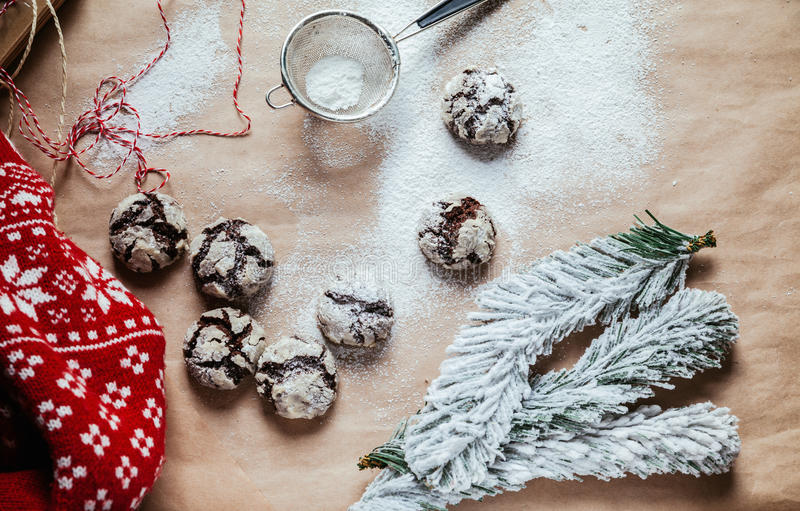 Crinkles. On The Table With Powder Sugar On Them stock image