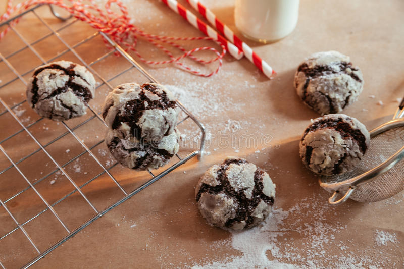 Crinkles. On The Table With Powder Sugar On Them royalty free stock photography
