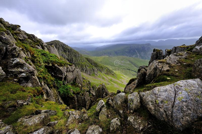 The Crinkles. Viewing across The Crinkles to Bowfell royalty free stock photo