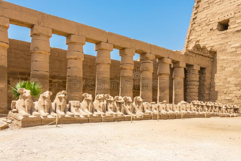 Criosphinxes - Goats headed sphinxes in the ancient city of Thebes, modern-day Luxor, Egypt. Karnak is the modern-day name for the ancient site of the Temple of royalty free stock photo