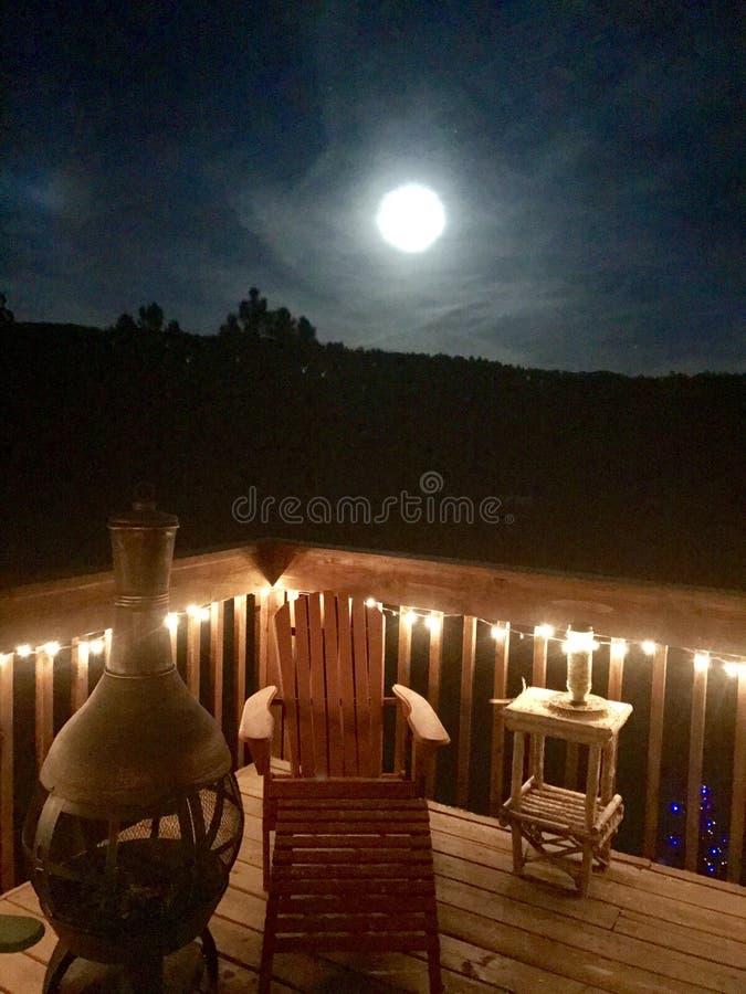 Cripple Creek Moonlight. Moon mountain full Cripple Creek stock photography