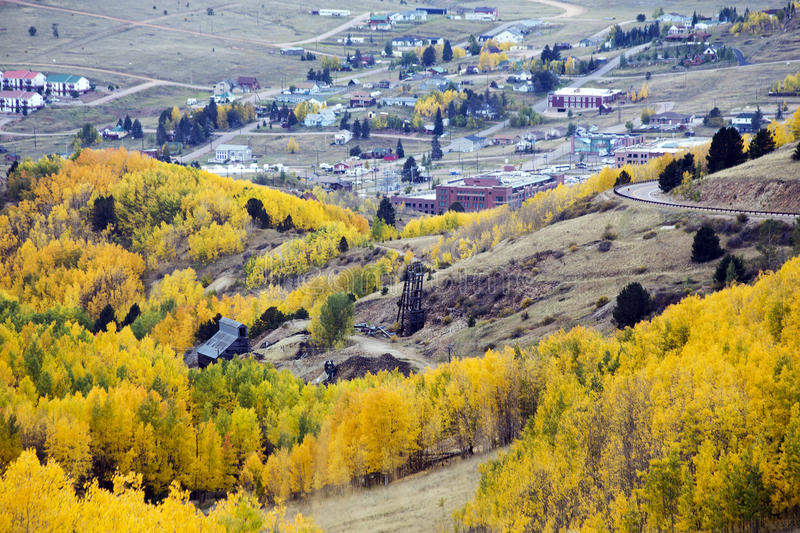 Cripple Creek,s Gold. Cripple Creek, Colorado and gold mine ruins in autumn royalty free stock photography