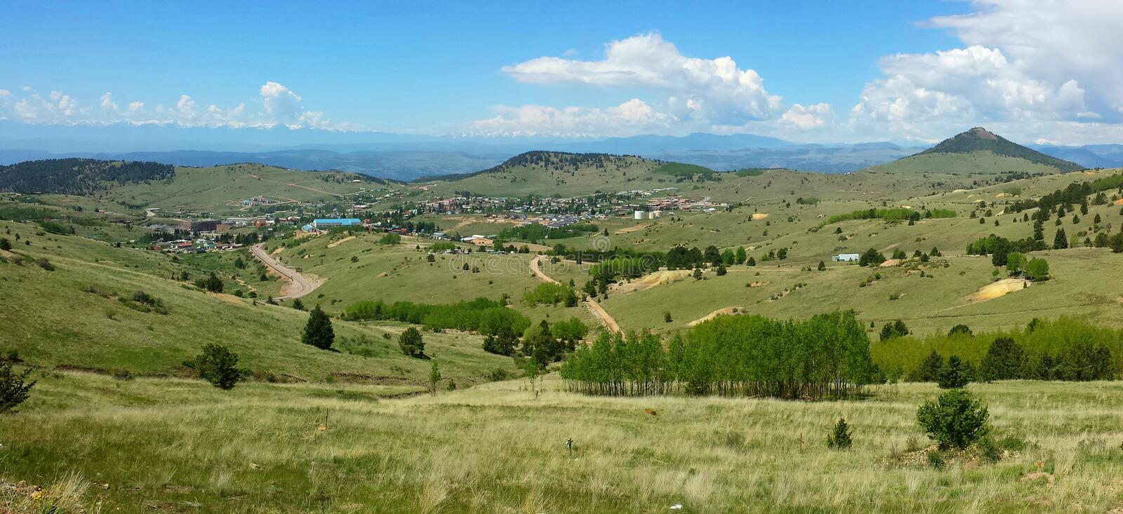 Cripple Creek. The small, historic town of Cripple Creek, Colorado, popular for gold mining and gambling, sits in a valley west of Manitou Springs stock photography