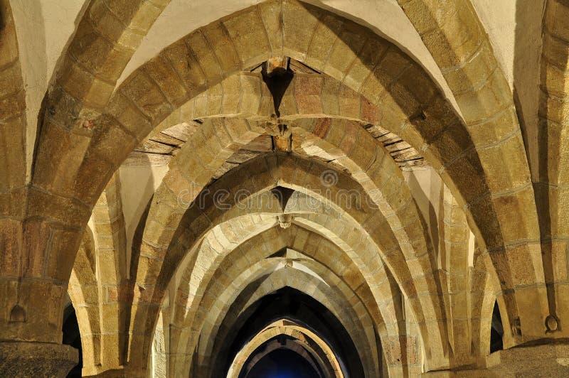 Cripta de Saint gótico Prokop da basílica, Trebic, UN foto de stock royalty free