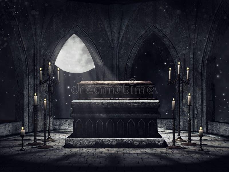 Cripta del vampiro con le candele illustrazione di stock