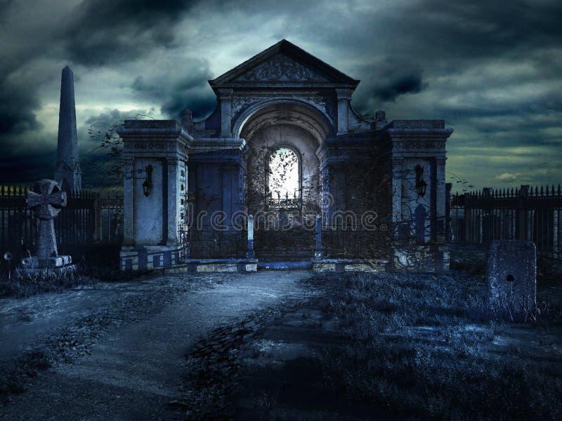 Cripta do cemitério na noite ilustração do vetor