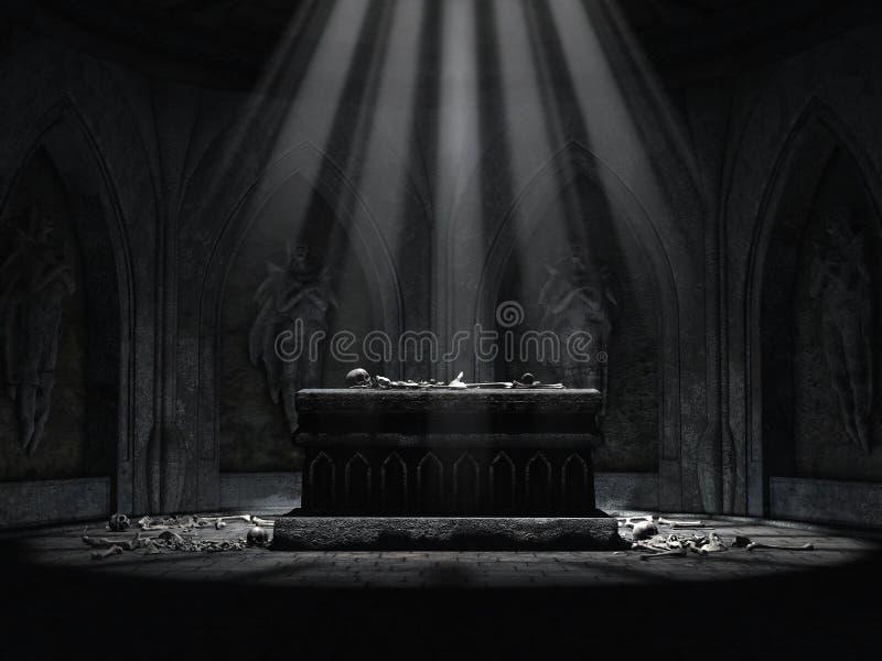 Cripta escura com um altar assustador ilustração royalty free