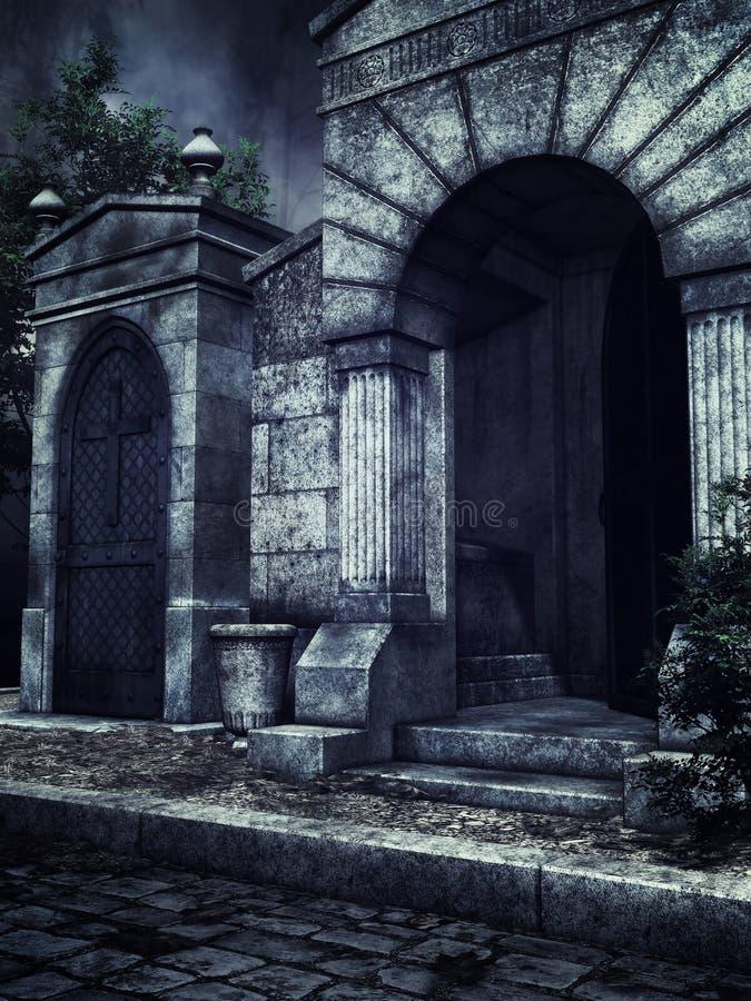 Criptas góticos na noite ilustração do vetor