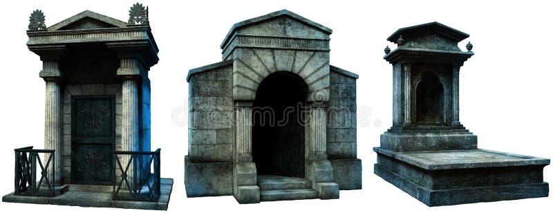 Criptas y ejemplo de la lápida mortuaria 3D ilustración del vector
