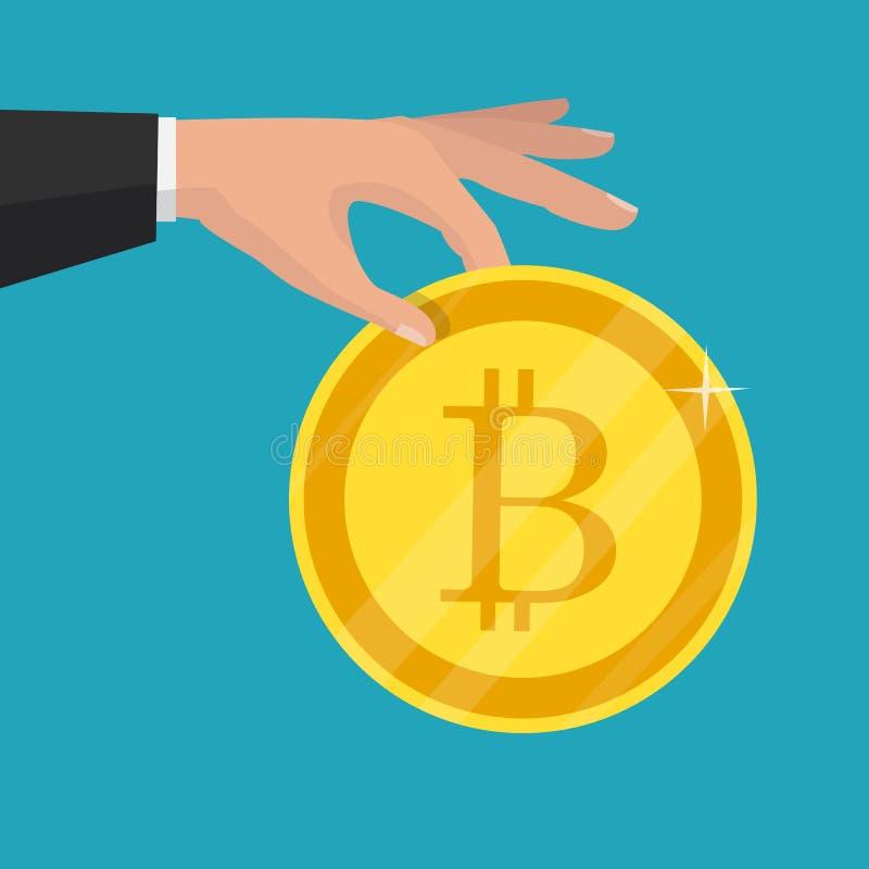 Cripto valuta Guld- nätverk M för lägenhet för bitcointeckensymbol royaltyfri illustrationer