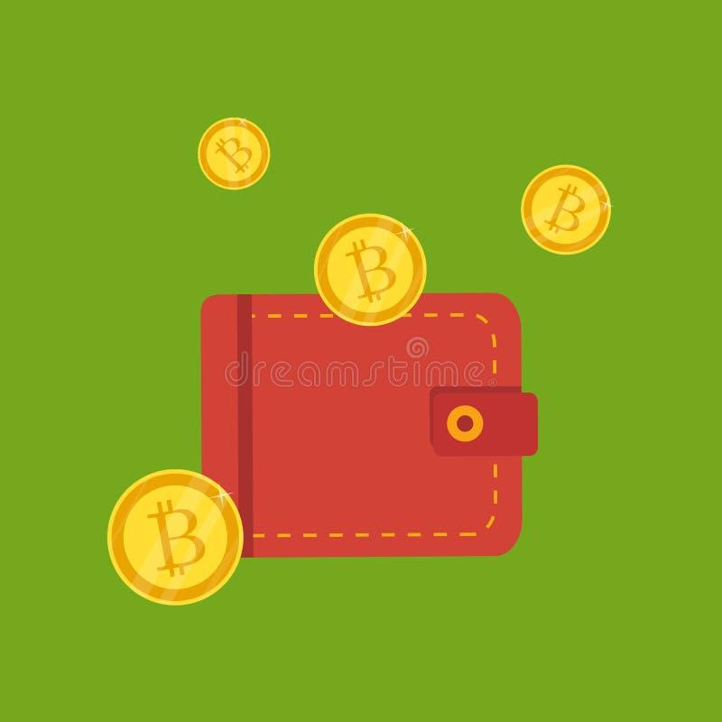 Cripto valuta vektor Guld- nätverk för lägenhet för bitcointeckensymbol royaltyfri illustrationer