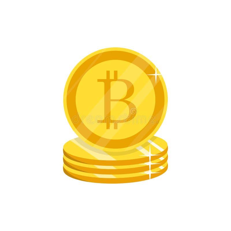 Cripto-Währung Vektor Flaches Netz m der goldenen bitcoin Zeichen-Ikone lizenzfreie abbildung