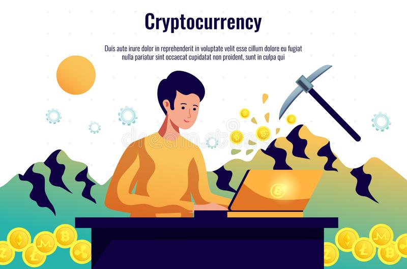 Cryptocurrency Mining Horizontal Composition royalty free illustration