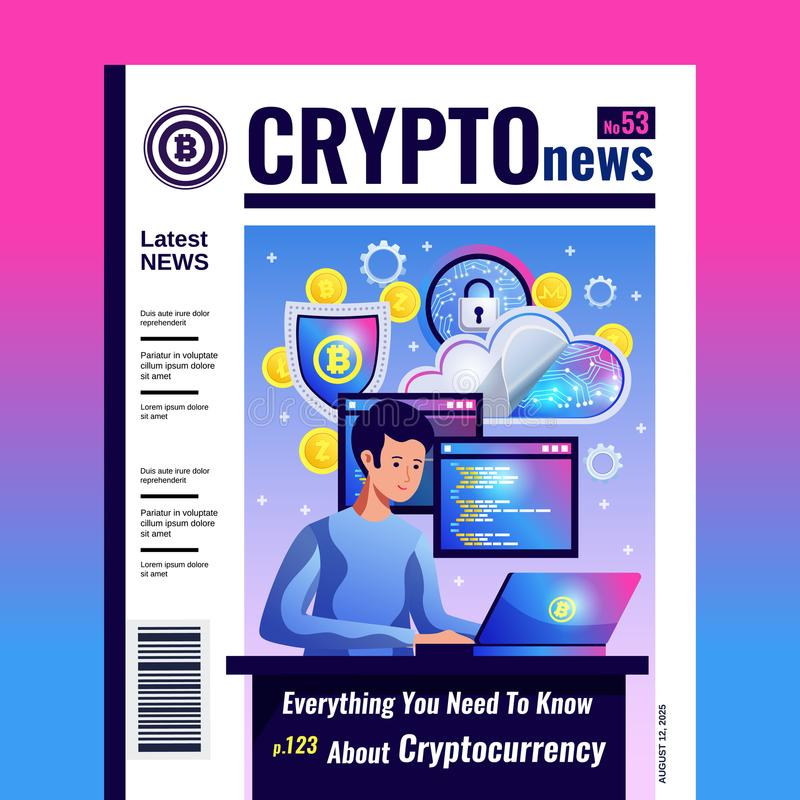 Cryptocurrency Blockchain Magazine Cover stock illustration