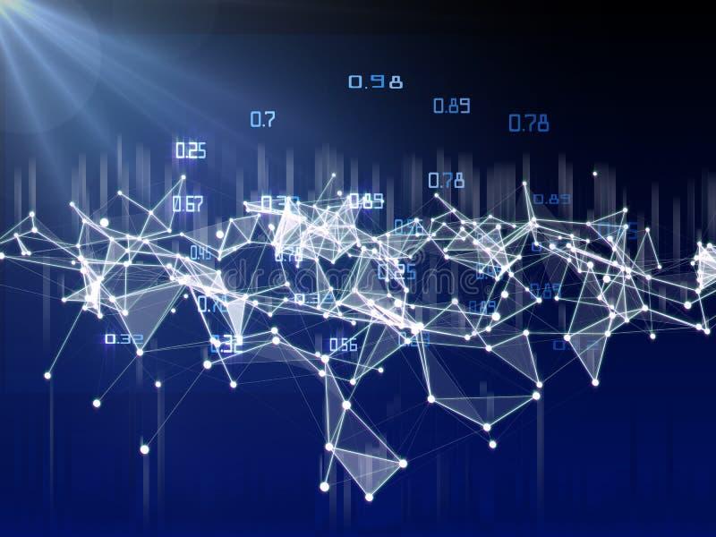 Criptografia artificial de computação do algoritmo infographic Dos dados visualização grande polygonaly ilustração royalty free