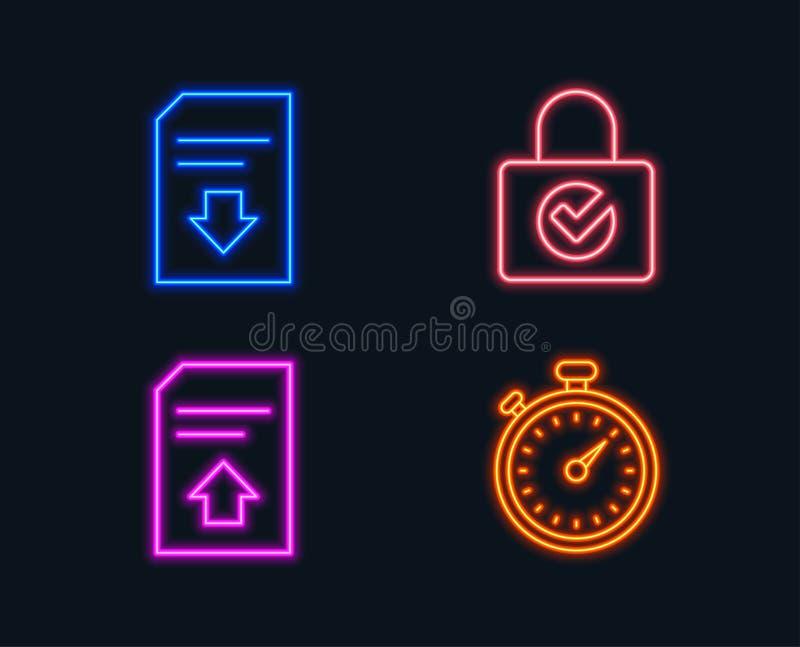 A criptografia da senha, o arquivo da transferência de arquivo pela rede e a transferência arquivam ícones Sinal do temporizador ilustração royalty free