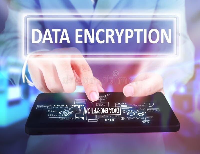 Criptografia de dados no conceito do negócio foto de stock