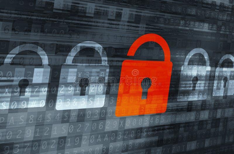 Criptografia de dados quebrada ilustração do vetor