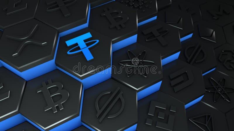Criptomoeda de moeda da USDT abstrata com conexão de rede de cadeia de bloqueio na ilustração conceitual 3d de cadeia de bloqueio ilustração royalty free