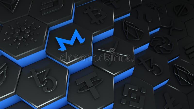 Criptomoeda de moeda monero da XMR abstrata com ligação de rede de cadeia de bloqueio na ilustração conceptual 3d de cadeia de bl ilustração royalty free