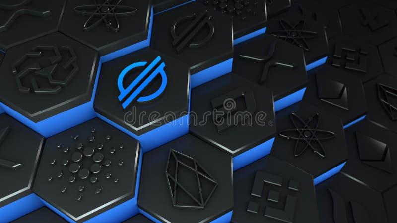 Criptomoeda estelar de moeda XLM abstrata com conexão de rede de cadeia de bloqueio na ilustração conceitual 3d de cadeia de bloq ilustração do vetor