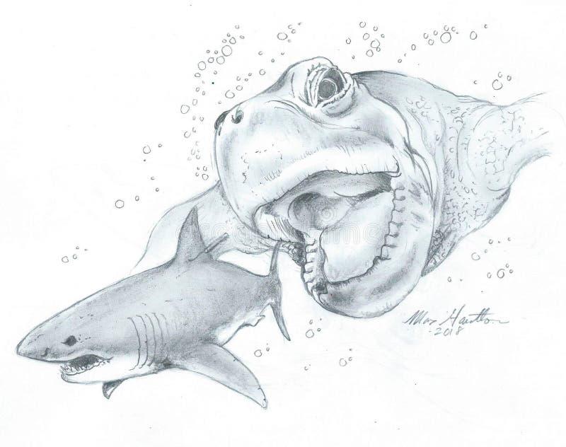 Criptozoologia gigante predador super da tartaruga de mar ilustração stock
