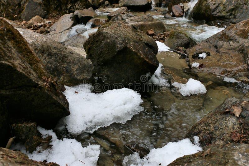 Crique avec de la glace chez Reid Falls inférieur dans Skagway, Alaska images stock