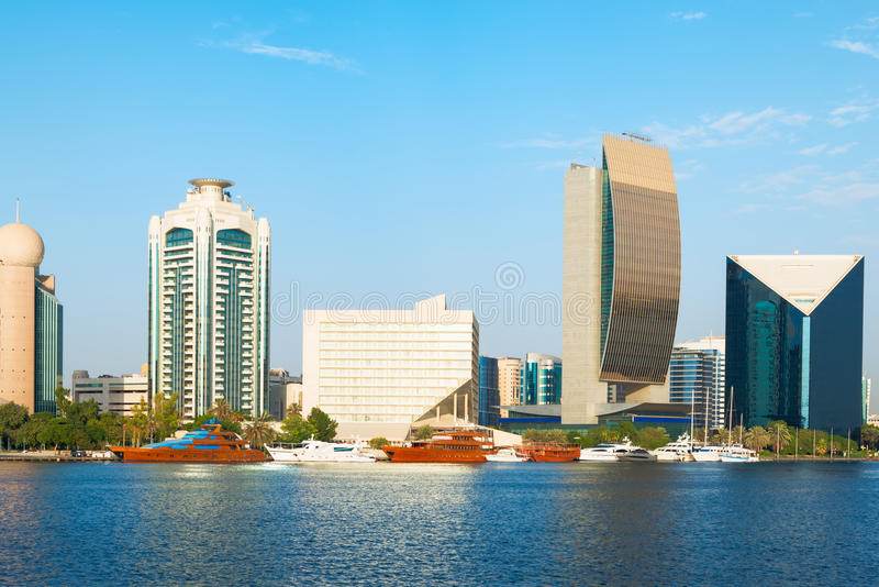 Crique de Dubaï Deira, EAU image libre de droits