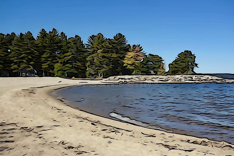 Crique de Sandy, lac bleu, pins photos libres de droits