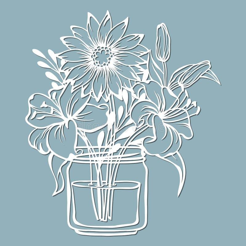 Crisântemo e lírio em um frasco da água Ilustração do vetor Flor de papel, etiquetas Corte do laser Molde para o plotador Teste p ilustração do vetor