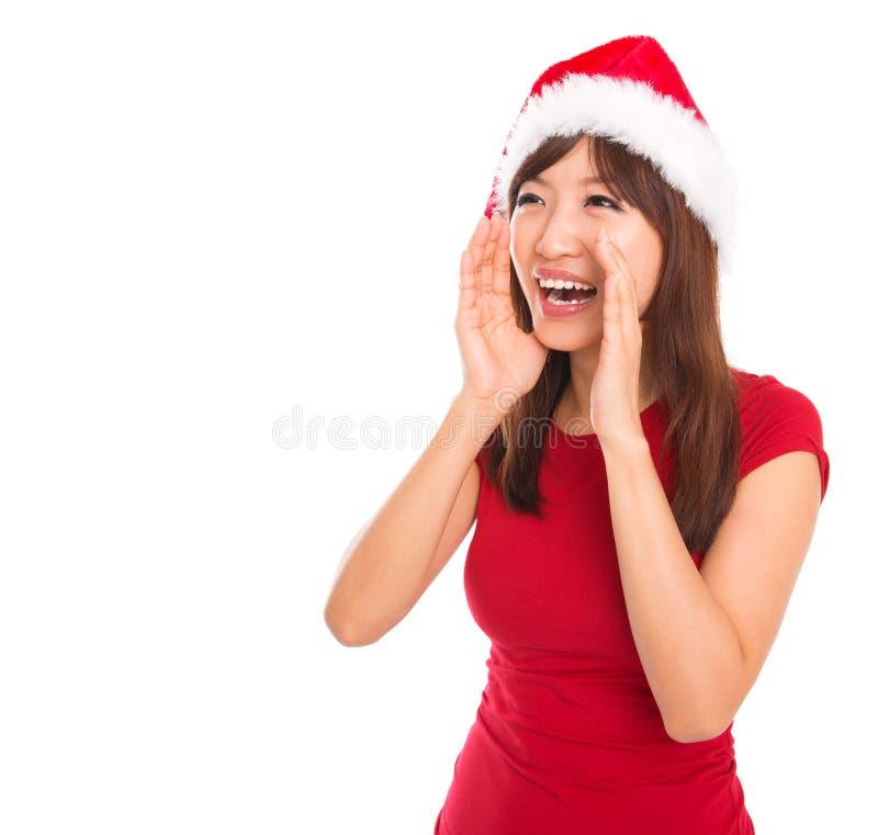 Cris asiatiques de femme de Santa photos stock