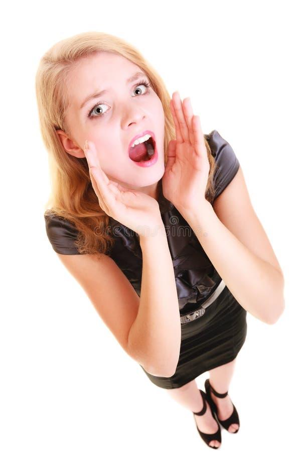 Download Cris Blonds De Buisnesswoman De Femme D'isolement Photo stock - Image du cris, désespoir: 45361684
