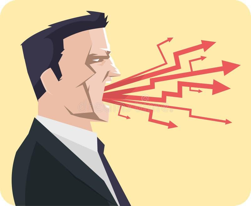 Cris criards d'homme d'affaires fâché illustration stock