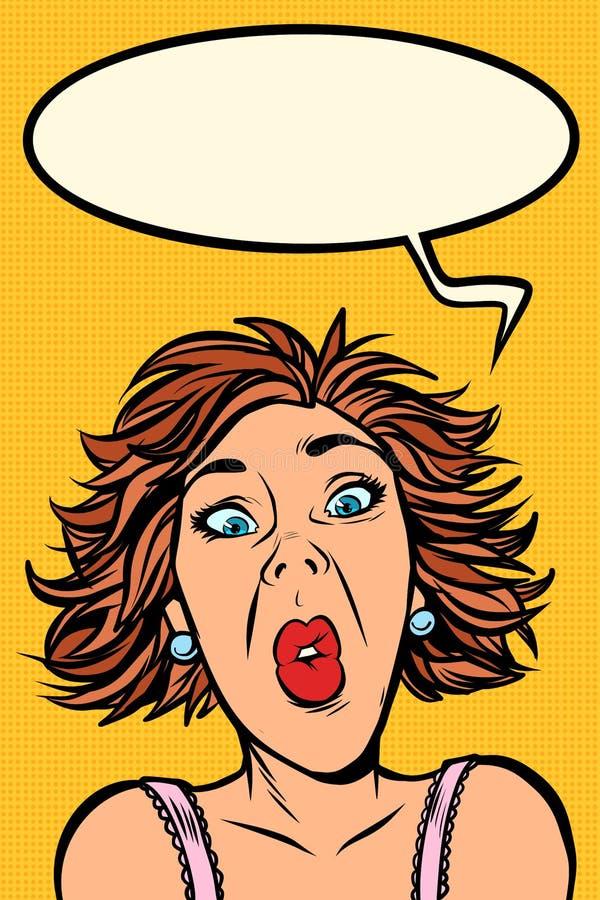 Cris perçants drôles de femme, expressions du visage étranges illustration libre de droits