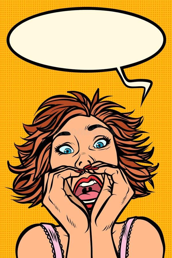 Cris perçants drôles de femme, expressions du visage étranges illustration de vecteur