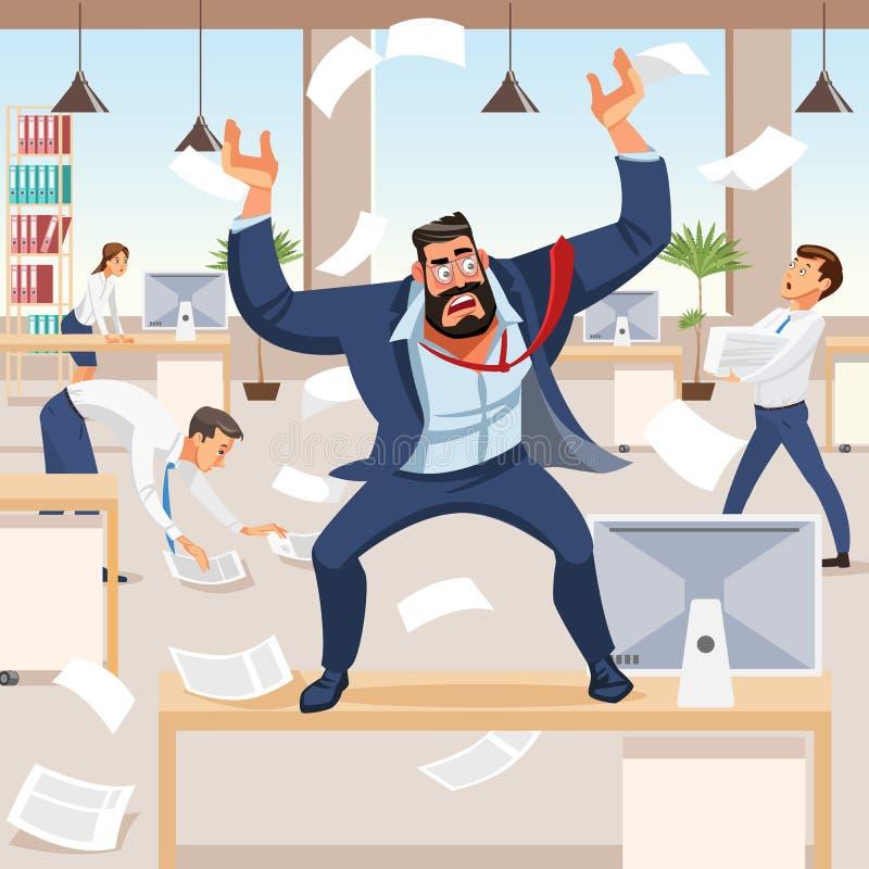 Cris perçants fâchés de patron dans le chaos à ses subalternes illustration de vecteur