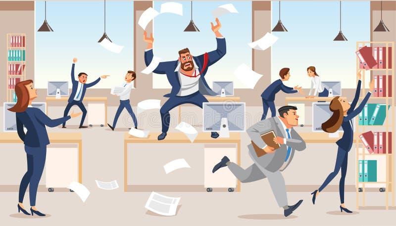 Cris perçants fâchés de patron dans le chaos à ses subalternes illustration stock