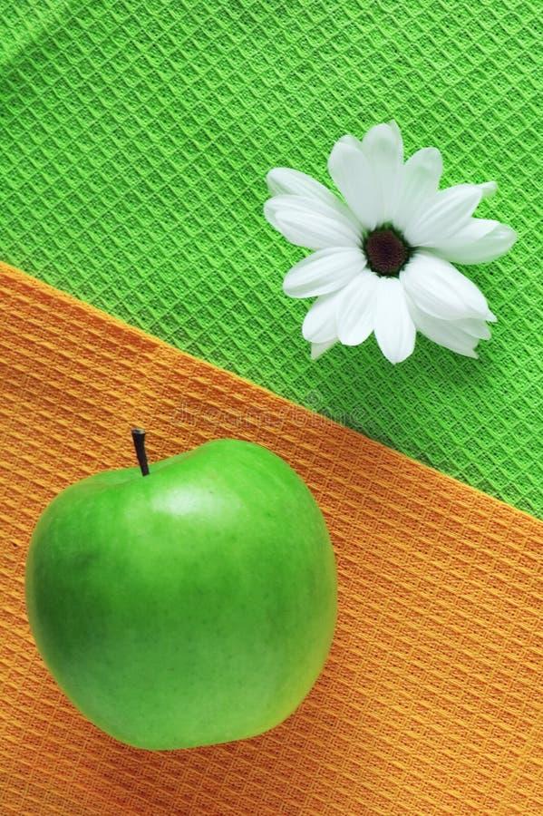 Crisantemo e mela verde immagine stock