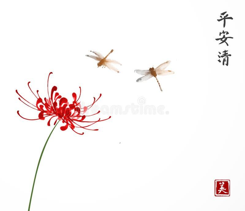 Crisantemo rosso e due piccole libellule su fondo bianco Il sumi-e orientale tradizionale della pittura dell'inchiostro, u-peccat illustrazione di stock