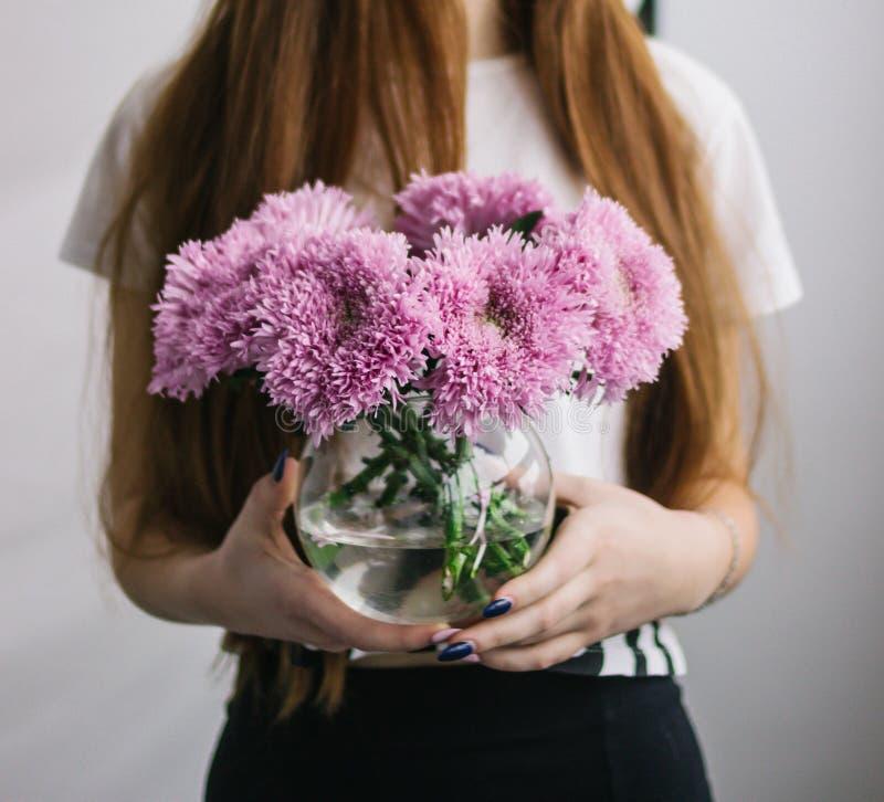 Crisantemos púrpuras en un florero en las manos de una muchacha La muchacha está sosteniendo crisantemos en un florero imagen de archivo
