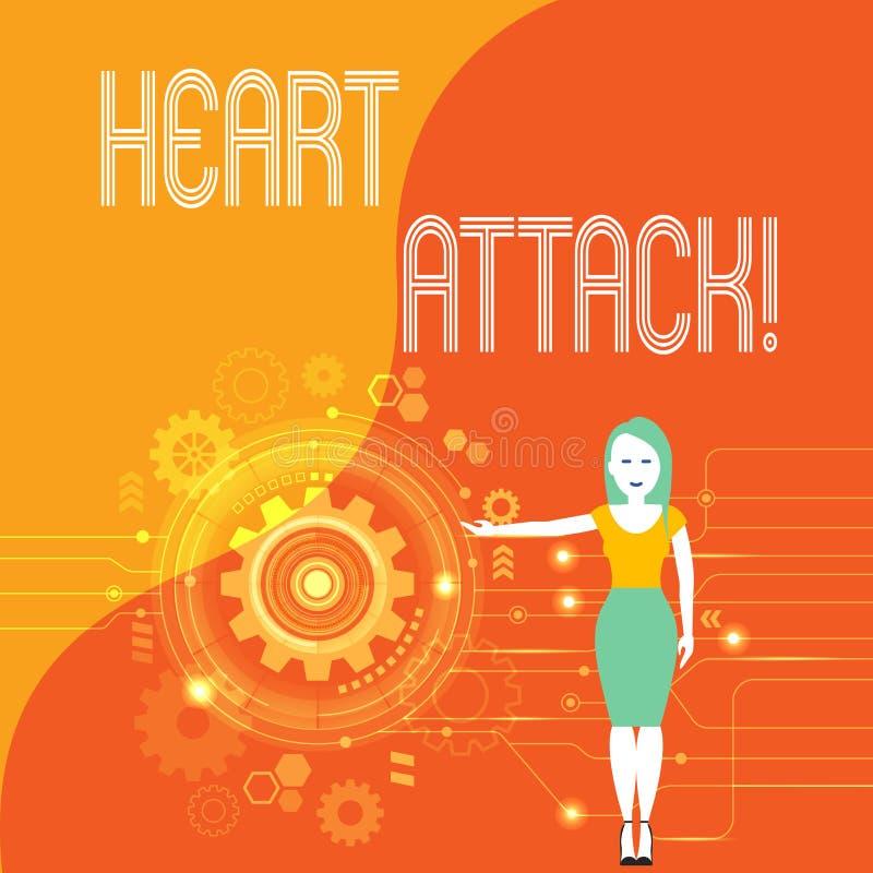 Crise cardiaque des textes d'?criture Occurrence soudaine de signification de concept d'infarctus du myocarde ayant pour r?sultat illustration libre de droits
