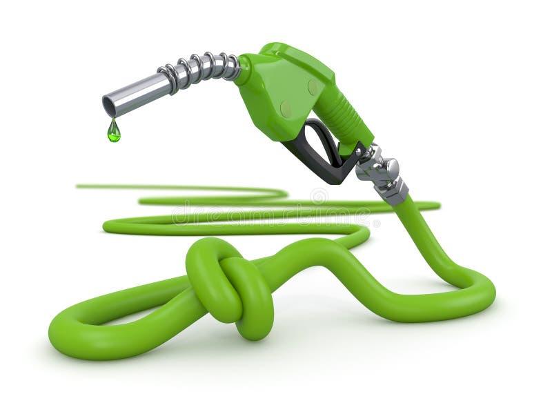 Crise de energia. Bocal da bomba de gás amarrado em um nó. ilustração do vetor