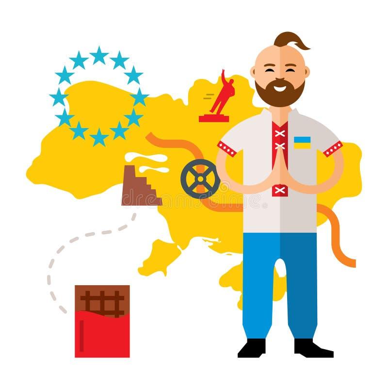 Crise de l'Ukraine de concept de vecteur Illustration colorée de bande dessinée de style plat illustration libre de droits